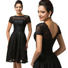 Black Women Sexy Lace Short Formal Evening Dress Party Prom Ball Homecoming Gown