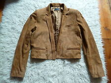 THE KOOPLES camel/marron clair daim crop veste, 38, 8-10
