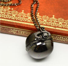Antique Vintage Bronze Ball Steampunk Pocket Watch Necklace Pendant Chain Men's