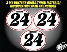 Vintage mx Custom Pre Printed Number plate Backgrounds Ovals WHITE RED PIN