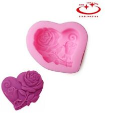 Hot Rose Heart Silicone Edible Molds Diy Chocolate Clay Soap Candy Candle Mould