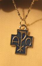 Handsome Small Blue Finish Chi Rho Cross Alpha Omega Silvertn Pendant Necklace