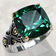 ADORABLE 7 CT EMERALD 925 STERLING SILVER RING SIZE 8