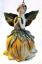 Blue Sky Clayworks Angel Bell Ornament Summer Yellow Sunflower Crystal Drop 4""