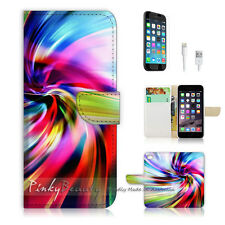 iPhone 7 (4.7') Flip Wallet Case Cover P0070 Rainbow Abstract