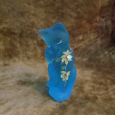 Fenton Lenox Hand Painted Blue Frosted Kitty Cat Figurine/EXCELLENT!