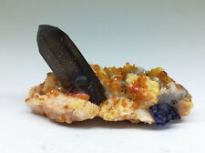 Eight face blue fluorite and crystal garnet mineral crystal gem stone ore materi