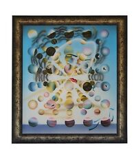 GALATEA OF THE SPHERES SALVADOR DALI REPRO AIRBRUSH PAINTING WITH SILVER FRAME