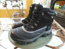 MENS ASPEN BLACK LEATHER/RUBBER THERMOLITE WATERPROOF RUGGED WINTER BOOTS 10 M