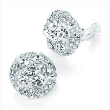 EARRINGS  DIAMANTE WEDDING BRIDAL BRIDESMAID clip on flower er27932 stud crystal