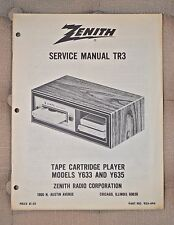 Zenith service manual TR-3 Tape Cartridge Player Models Y633 and Y635 tr3