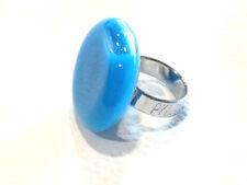 Bijou Alliage argenté authentique bague Pylônes ronde liquide bleu ring