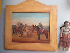 Rare Old Mexican Oil Painting by Noted Folk Artist Del Valle