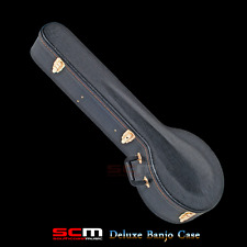 DELUXE 5 String Banjo Case Archtop Padded Plush Lining Lockable Gold Fittings