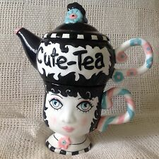 Peggy Turchette Design CUTE-TEA Tea for One Set Teapot Rests on Top of Cup