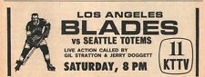 1963 Tv Ad ~ Los Angeles Blades vs Seattle Totems ~ Western Ice Hockey League