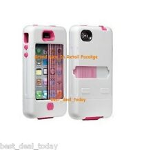 Case-Mate Tank Rugged Case W/ Holster Clip For Apple Iphone 4/4S 4G Pink White