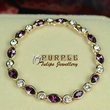 18CT Rose Gold GP Elegant Amethyst Bracelet W/ Genuine SWAROVSKI CRYSTALS