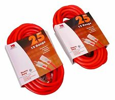 Two (2) 25-Foot 12 Gauge Extension Cord UL Lit End 3 Wire 12/3 Heavy Duty Ft
