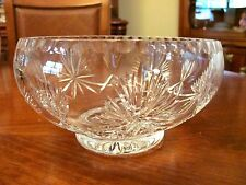 GORGEOUS CRYSTAL FACETED CUT GLASS FOOTED BOWL MADE IN ENDINBURGH SCOTLAND EUC