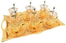 25 Stk Türkisch Tee Gläser Set mit Halter Griff Untertasse Löffel & Tablett