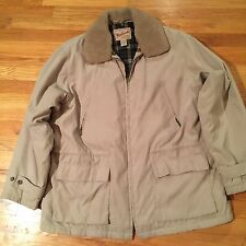 WOOLRICH  Women's Beige Cotton Nylon Jacket Faux Fur Collar Flannel Lined XL