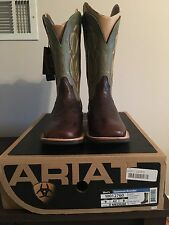 Ariat Men's Quantum Brander  Western Boots Thunder Brown/Spring Green size