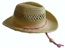 Straw Raffia Cowboy Western Hat With Pink Band for American Girl Doll Clothes