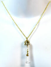 ELEGANT GOLDEN GLASS PLANT NECKLACE BRAND NEW UNIQUE RETRO (CL2)