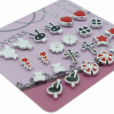 Black White Red Color Enamel Magnetic Studs Earrings for Teen Girls Kids Womens