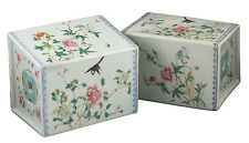 Fine Pair of 19thC Antique Chinese Famille Rose Porcelain Pillows