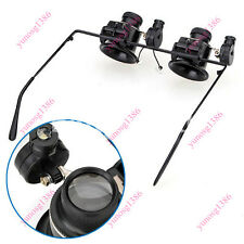 20x Magnifier Double Eye Loupe Lens Jeweler Watch Repair Tool With LED Light Yun