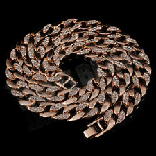 15mm 14k Rose Gold CUBAN LINK Necklace Crystal ICED OUT CZ HipHop Bling Necklace