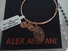 Alex and Ani Because I Love You MOM II ROSE GOLD FINISH Bangle NWT Card & Box