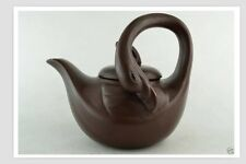 Collectibles Decorated Handwork Purple Clay Carving Swan Usable Tea Pot