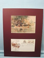 """Charles Russell hunting painting - """"Caught Napping"""" & Canoe First Day Cover"""