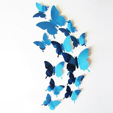 12 x 3D Buttefflies Mirrored Blue Stick On Wall Art Decal Fun Decoration. 1504