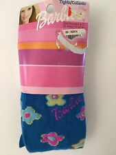 NEW BARBIE GIRLS TIGHTS SIZE 4-7 BLUE WITH FLOWERS