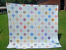 Lovely Vintage Handmade 9 Patch Quilt-Hand Quilted--All Cotton-Good Condition