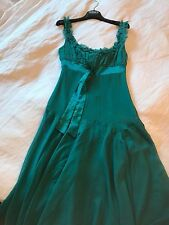 TED BAKER JEANS TEAL AQUA SILK DRESS RUFFLES TEA PARTY LACE PLEATED 1 8/10