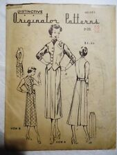 UNUSED UNPRINTED 40s Vtg ORIGINATOR PATTERN 361 size 16 skirt vest 2pc dress