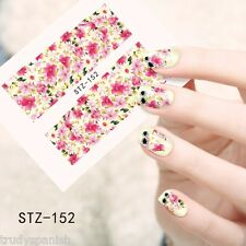 Nail Art Water Decals Wraps Pink Summer Flowers UV Tips Decoration Gel Polish