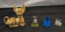 Lot of 4 Collectible Figurines Cat Pooh & Friends Blue Glass Bird Signed  T4P45