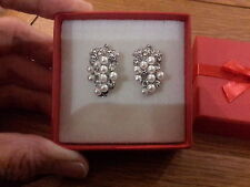 Brand new Silver earrings in a pearl and crystal grape design and gift box