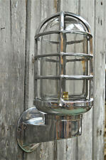 Large polished metal ship bulk head wall light ships passageway lamp B