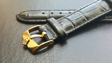 Genuine Leather Black Watch Strap 18mm with Rolex Gold Plated Buckle WZ-S28