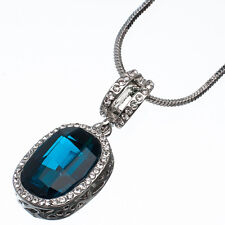 17.90 Ct Oval Cut Style Shape Blue Topaz CZ 18K White Gold Plated Pendant