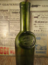 ++Antique++ French black glass bottle / LARGE SEAL / Olive Oil / c1870 +WOW+