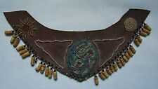 VINTAGE NATIVE AMERICAN INDIAN BEADED & LEATHER NECKPIECE SUN & MOON