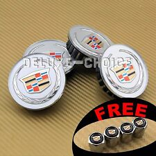 4 SILVER FINISH with COLOR LOGO WHEEL CAP HUB CENTER for CADILLAC SRX CTS